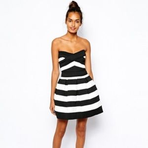 River Island black and white Bandeau Dress